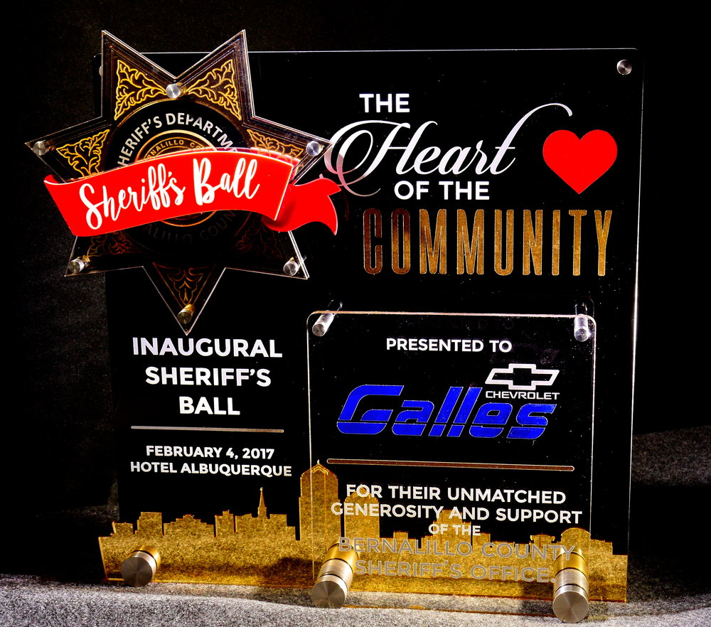 Sheriff's Ball - Heart of the Community Award  Contact us for pricing information.