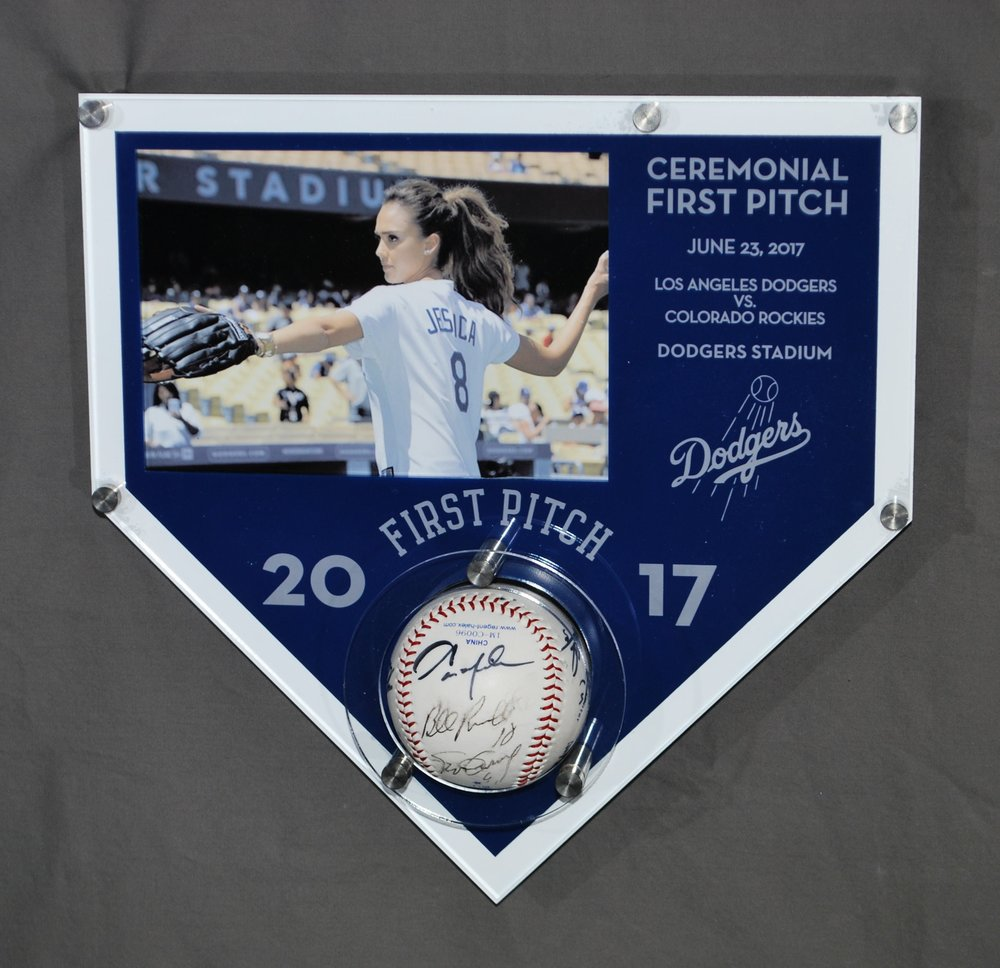 5x7 landscape photo frame - First Pitch Frame holds baseball, with custom etching identifying game, date, opponents, in home team colors.  Contact us for pricing information.