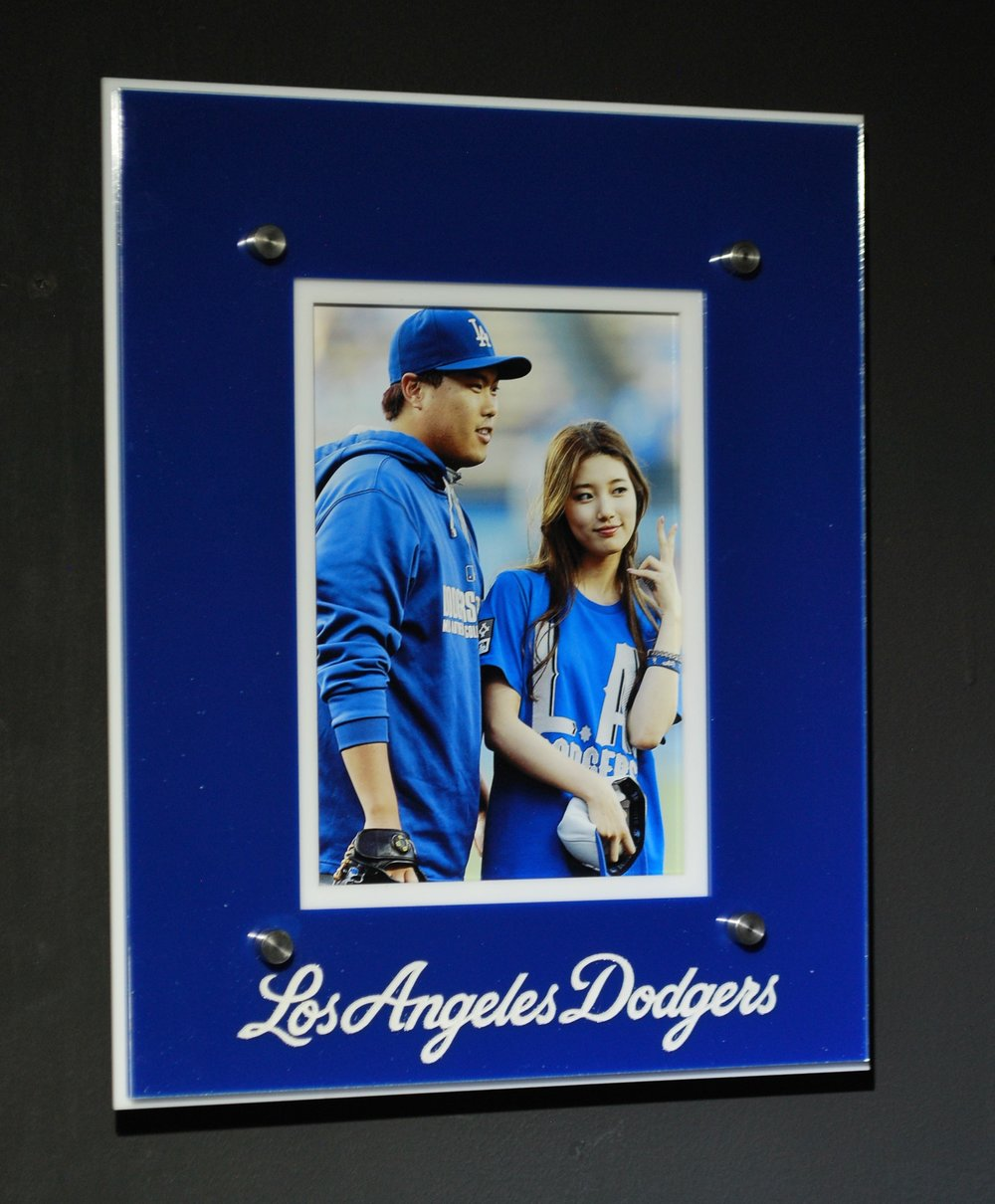 5x7 portrait frame - 5-layer acrylic, in team colors, color-enhanced team text imagery  Contact us for pricing information.