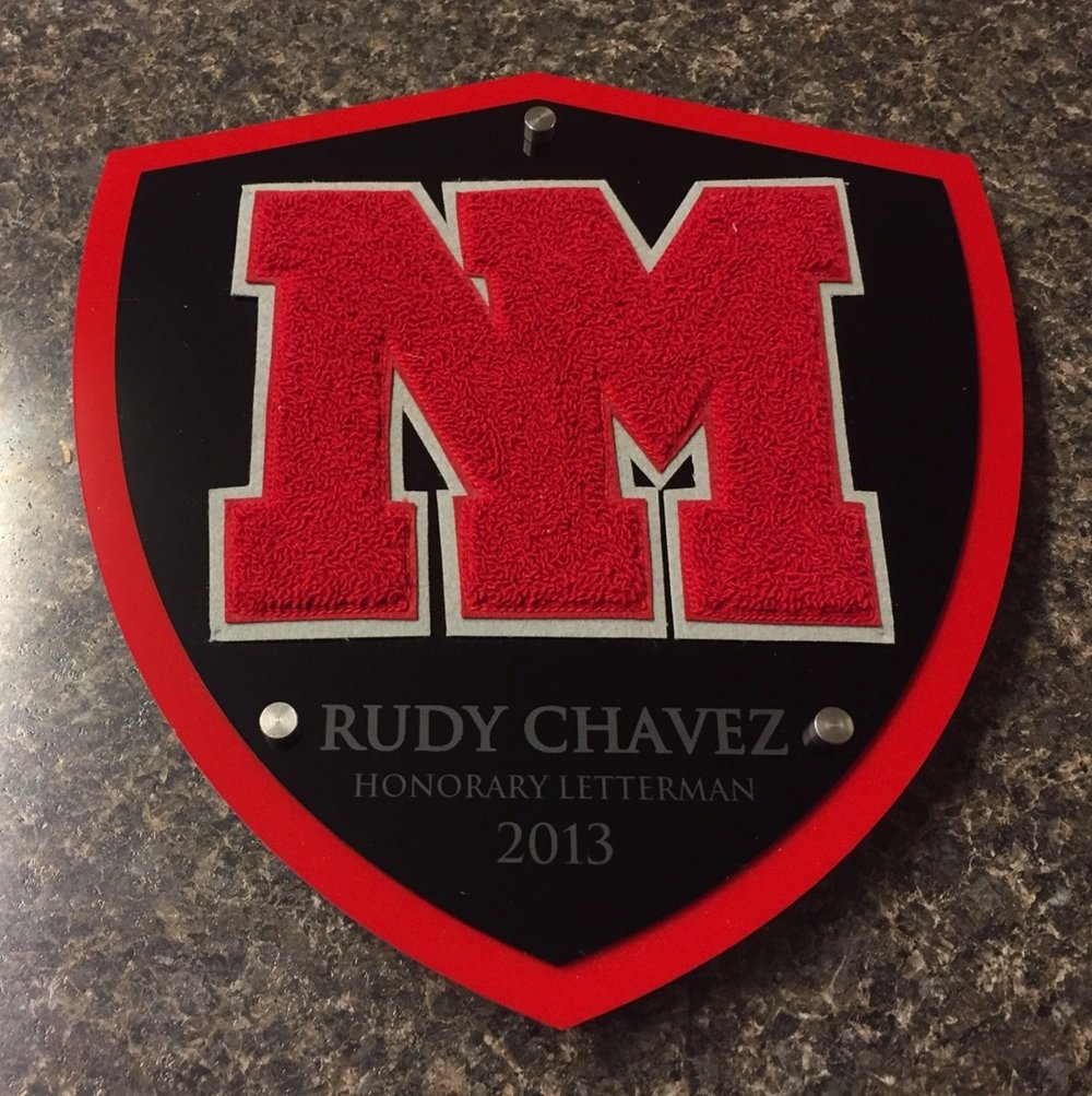 School Plaque - Custom Plaque fabricated around Honorary Letter given recipient.  Contact us for design and pricing information for your display.