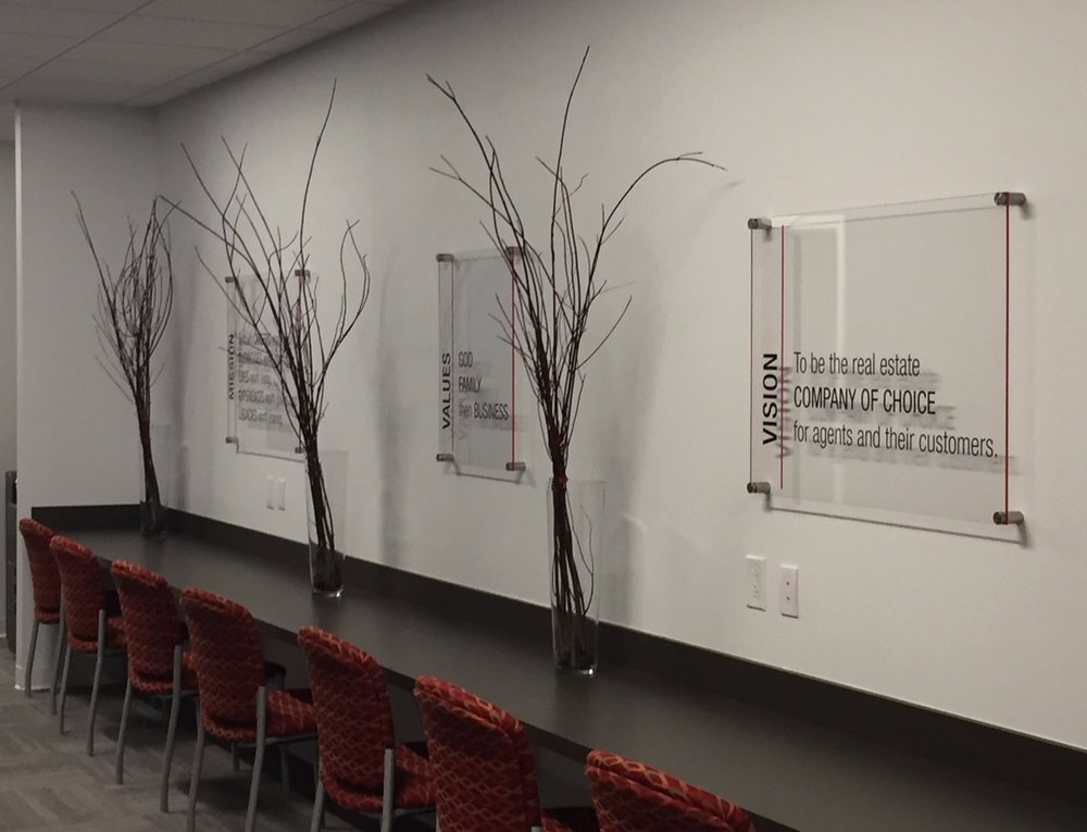 Branded Displays - Fabricated around brand materials for an elegant display in an office environment.  Contact us for design ideas and pricing information.