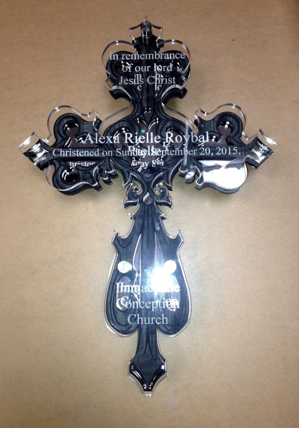 Memorial Events - Commemorative cross celebrates spiritual ceremony   Contact us for design assistance and  pricing information.