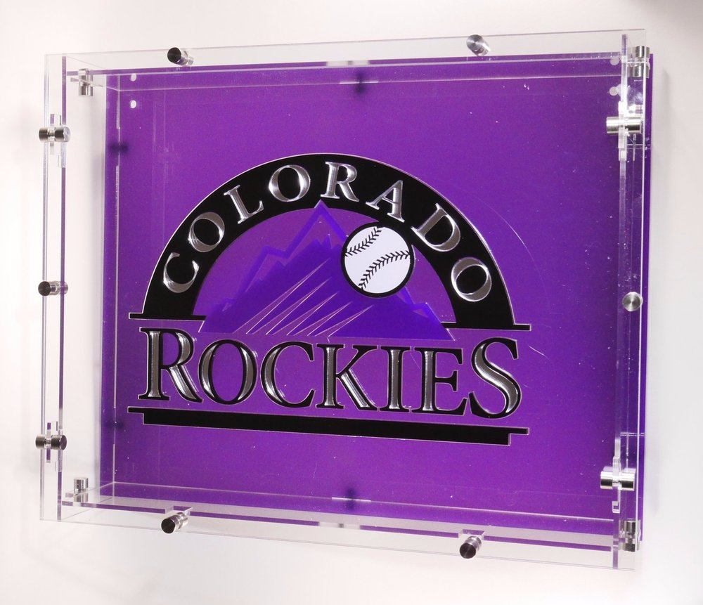 Colorado Rockies Season Ticket/Shadow Box - Acrylic w/SS hardware and inlay logo top.  Contact us for design and pricing information.