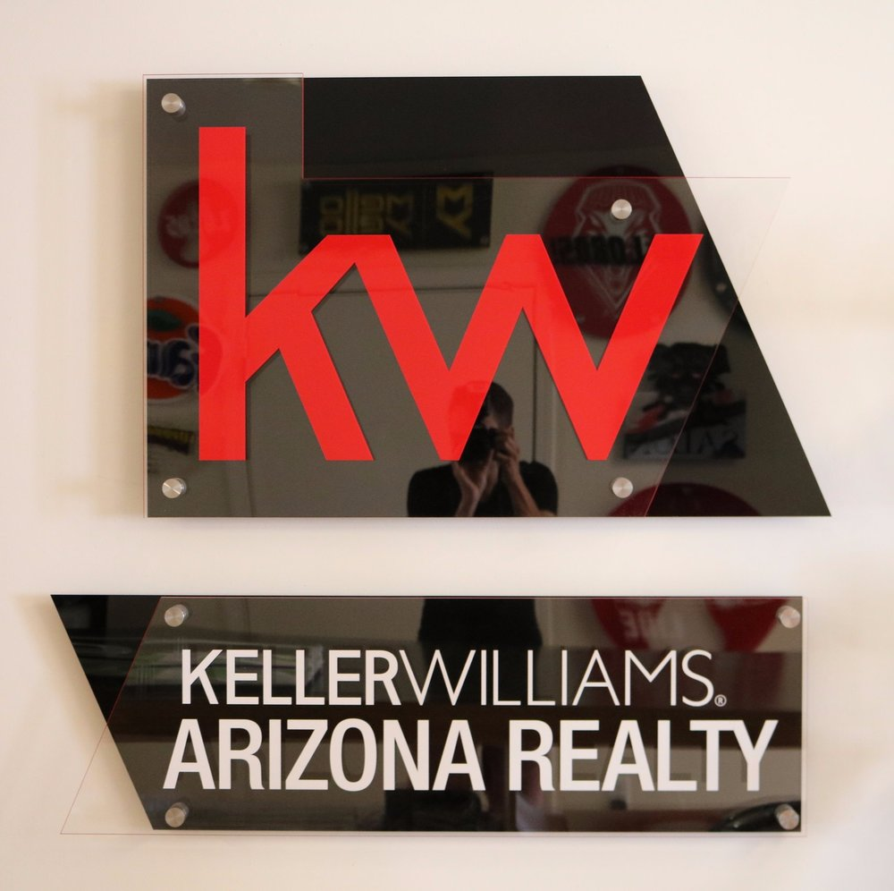 Keller Williams, Logo-based, multi-plane display - Vertical Agency Panel below, elegant identification without breading the form of the logo installation.  Contact us for design and pricing information.