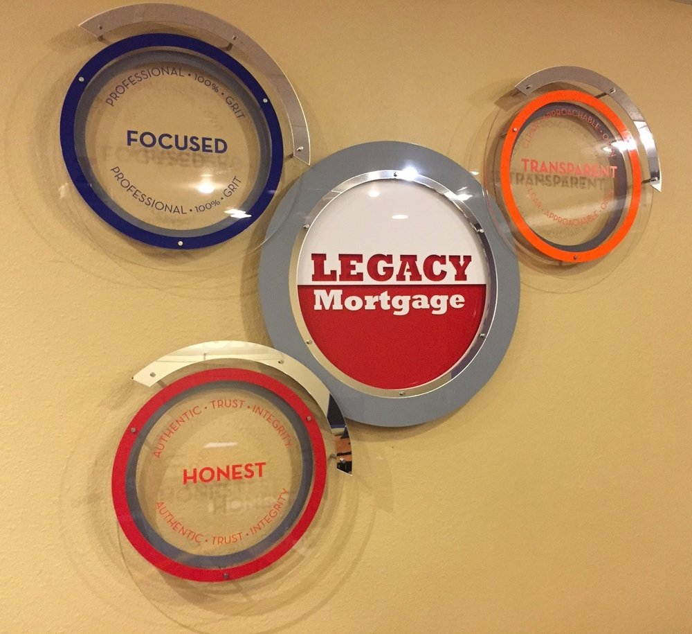 Logo based signage - Legacy Mortgage's new logo as a 3-D display.  This 4 piece installation is in multiple Legacy Offices throughout the Southwest.  Contact us for design and pricing information.