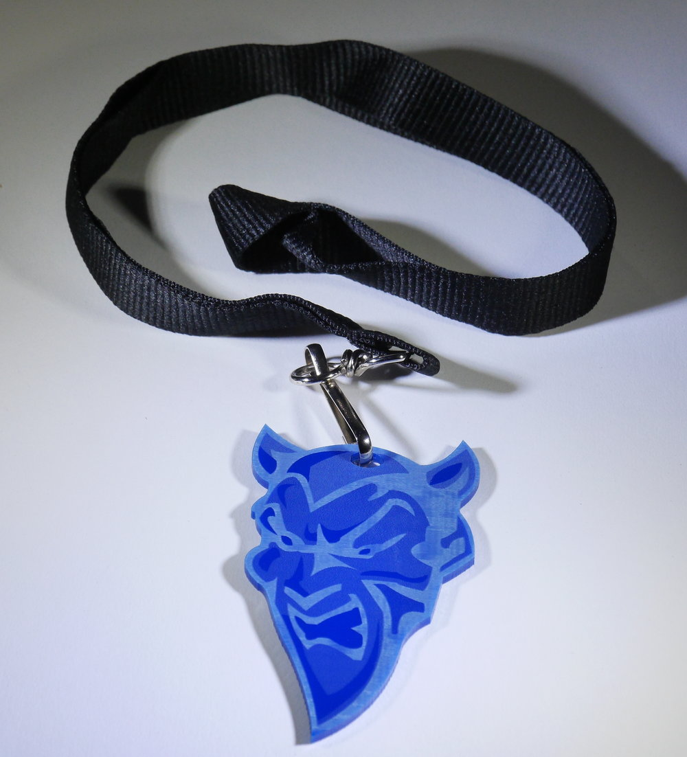 Custom Medallion on Lanyard - Your shape and size, custom etched with your imagery/mascot/logo/etc.  Back can be marked with the sponsor's, or recipients name/logo/data/etc.  Contact us for design and pricing information.