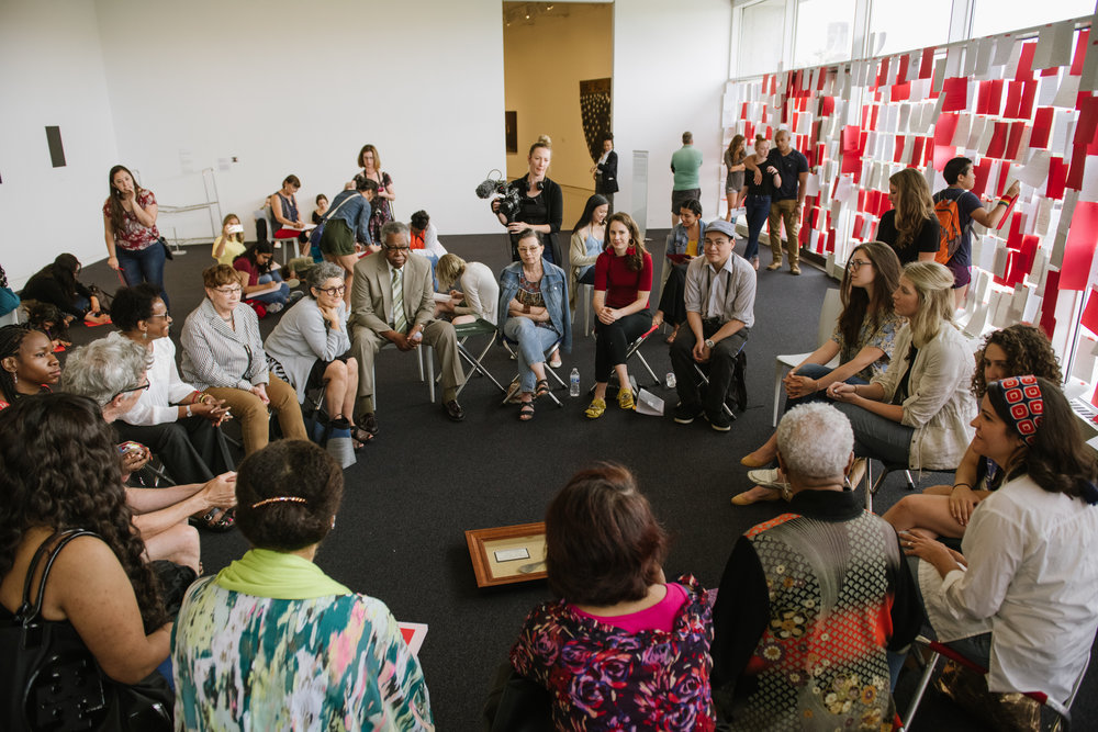 While at the Hirshhorn,  To Future Women  intervened within the entire system of i's public programs, working with staff to design and stage feminist museum tours and children's Storytime activities - the latter of which became a permanent program.  In this image, I was facilitating a Circle Discussion 'Archives & Lullabies' to explore women-driven, non-institutional systems of knowledge exchange and cultural production as a method of revealing and disrupting hierarchies within the Smithsonian's collecting and archiving processes. This shows my interest in integrating social practice methodologies into my practice, treating the public programs associated with my work as an extension of the work itself to further its conceptual agenda.