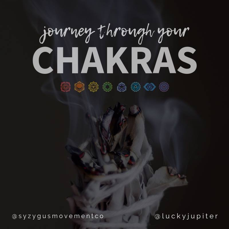 Journey through your Chakras: Yoga + Essential Oils - Syzygus Movement Co is partnering with Katherine Holmes of Lucky Jupiter Yoga to offer a special workshop! Join us October 8th for a journey through the chakras. This workshop will include education about chakras, and yoga flow to activate and soothe the chakras, using essential oils to dive deeper into our personal energies. Learn more about the spirituality of yoga, discover yourself, and empower yourself onto a path of healing using essential oils and yoga. Participants will blend their own essential oil mixture to take home!