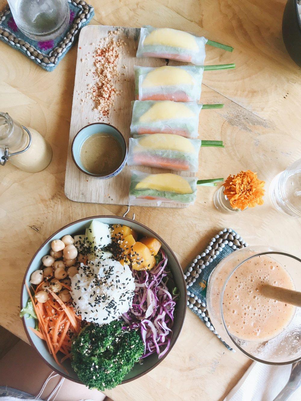 Fresh mango spring rolls (made vegan) and Buddha bowl salad