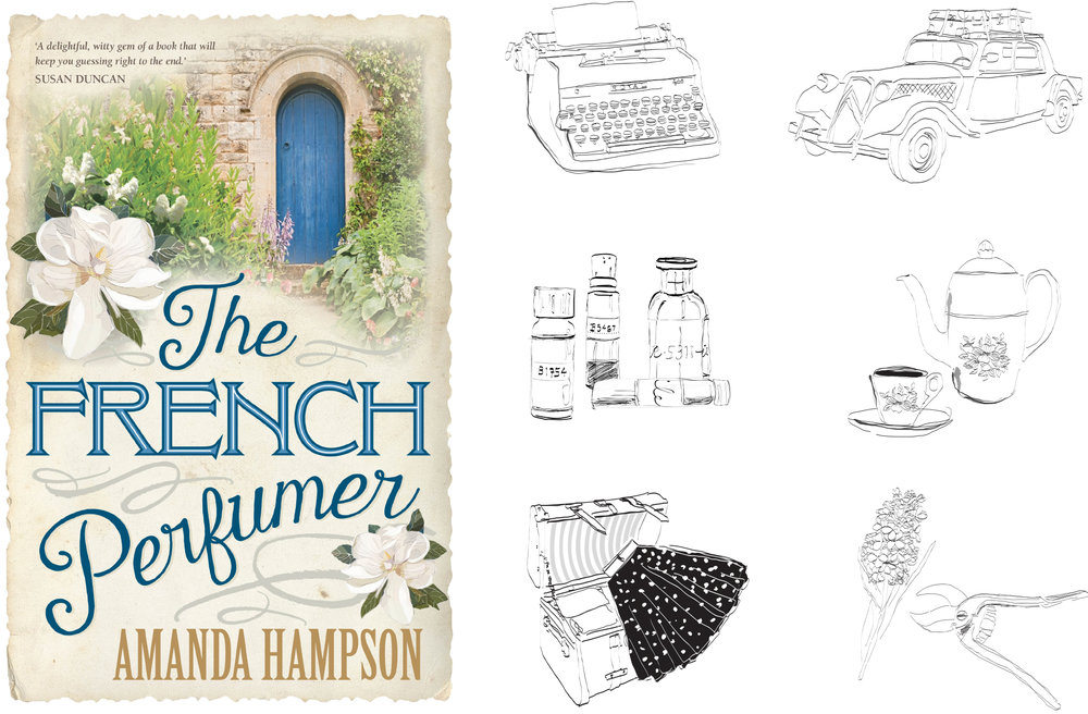 The French Perfumer - By Amanda Hampson published by Penguin Australia. A collection of illustrations throughout the book by Kymba. Note cover illustration not by Kymba.