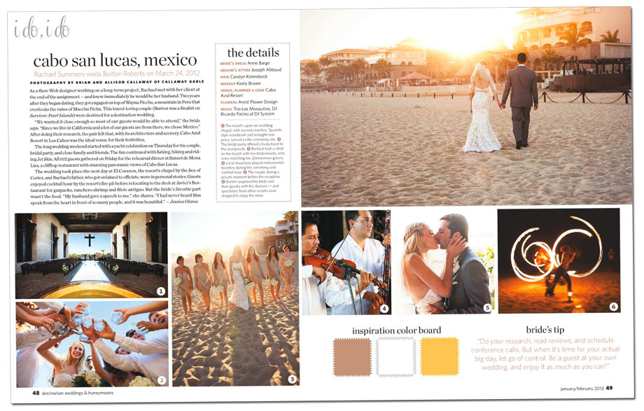 Cabo Azul Wedding is in Destination Weddings Magazine