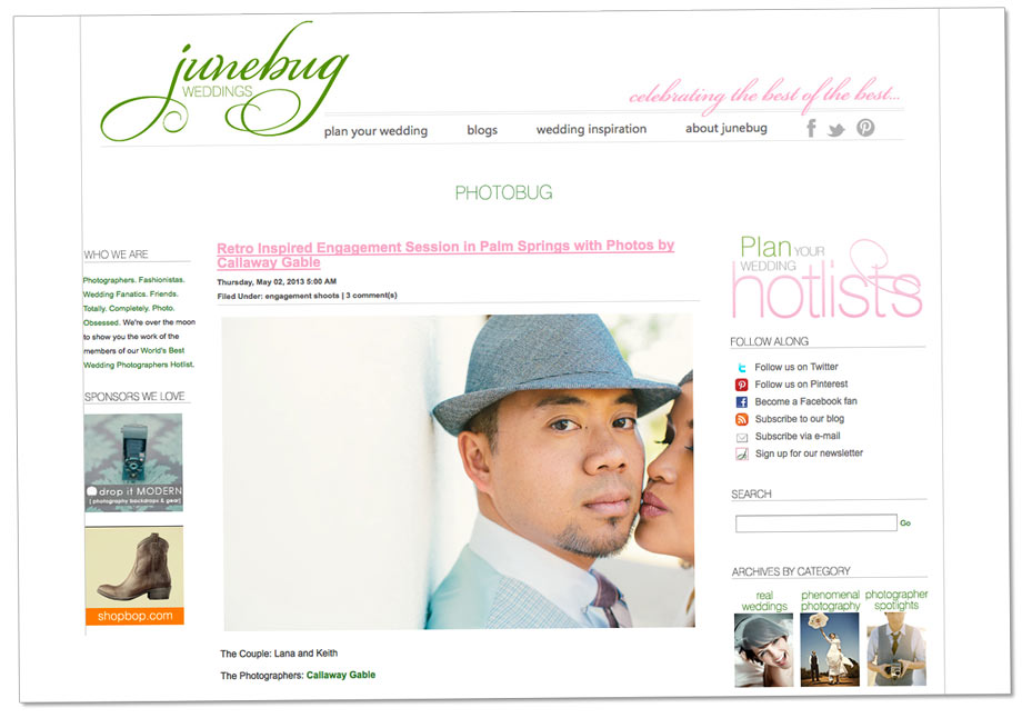 Retro Palm Springs Engagement on Junebug Weddings