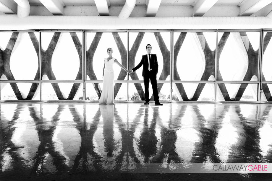 Modern Engagement Photos at American Cement Building in downtown Los Angeles