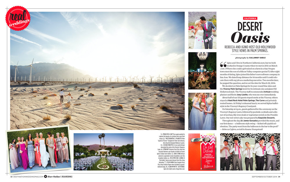 Palm Springs Wedding in Destinations Weddings and Honeymoons Magazine