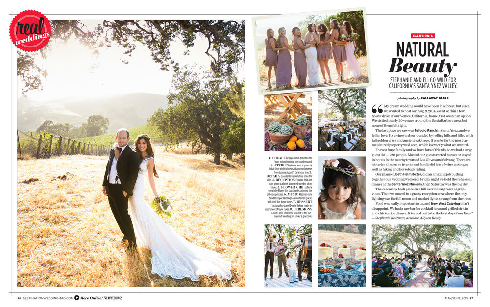 Refugio Ranch Wedding in Destination Weddings Magazine