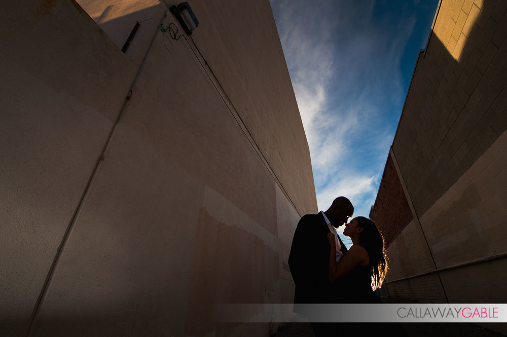 Silhouette engagement photo in downtown San Pedro