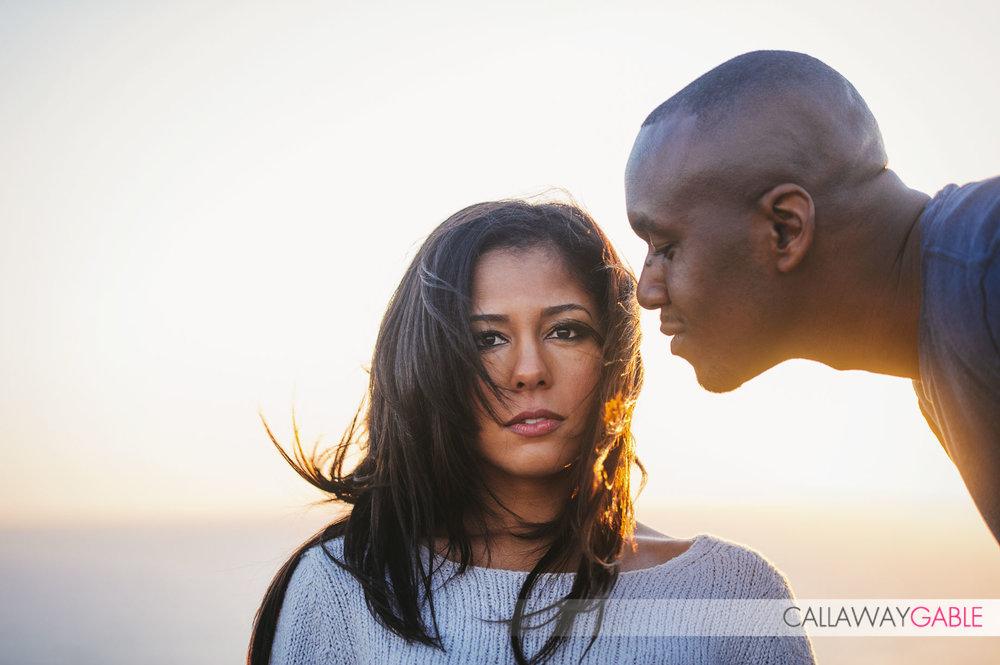 Romantic engagement photo at Point Fermin Park in San Pedro