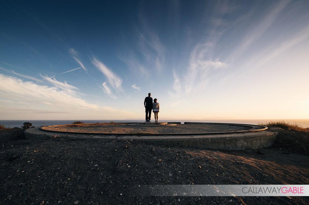 Silhouette engagement photo at Point Fermin Park