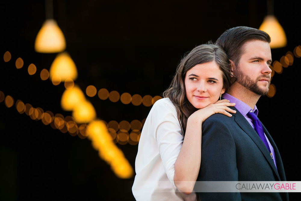 Cool engagement photo with lots of bokeh