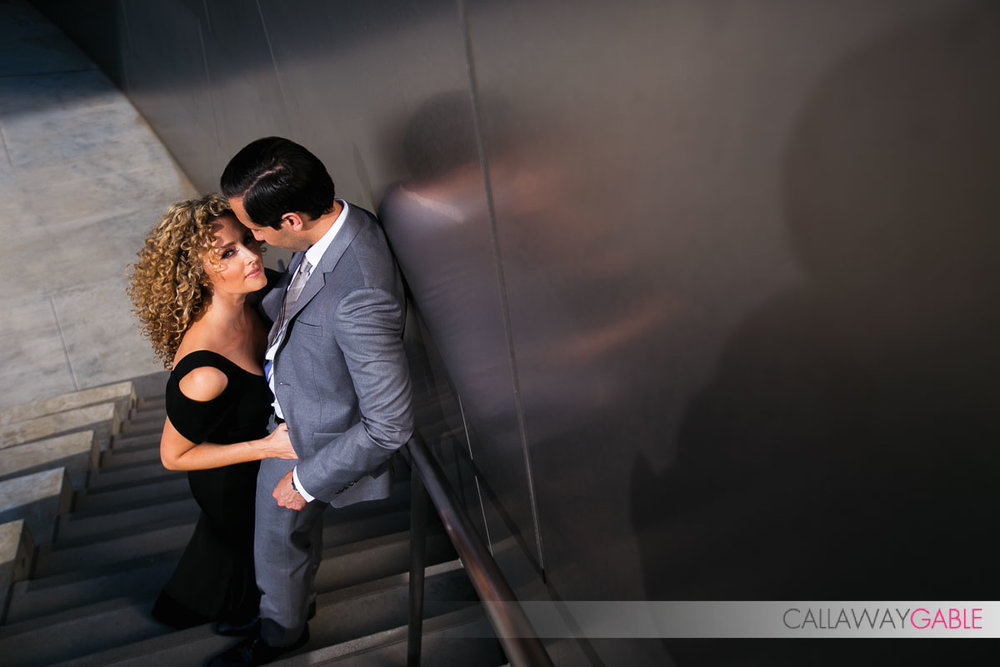 Sexy Disney Concert Hall Engagement Photo on the stairs