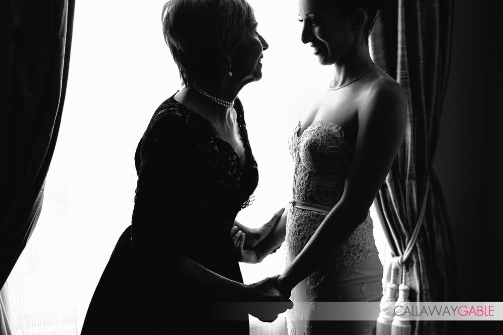 Bride and her Mom having a loving moment at the Culver Hotel