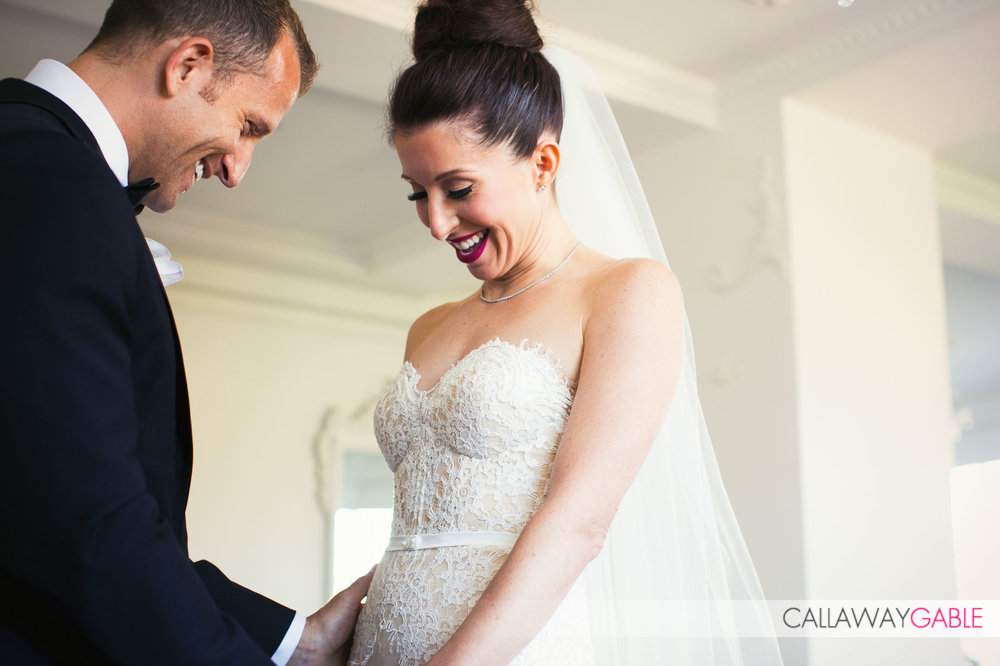 First time the bride and groom saw each other at The Culver Hotel - they were married at Smog Shoppe