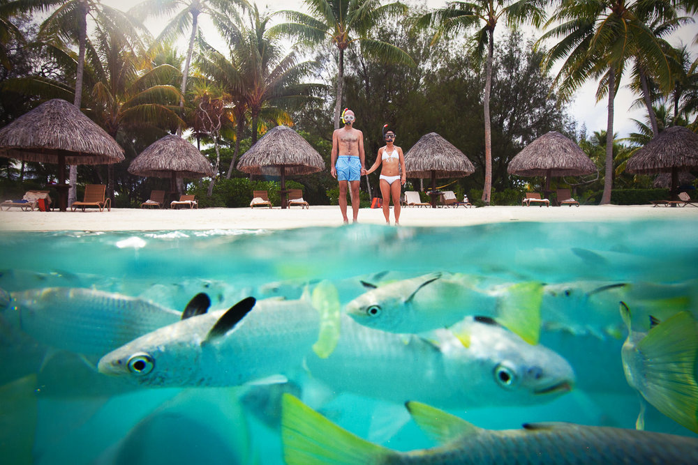 Los Angeles wedding photographers who travel for destination weddings like this one in Bora Bora