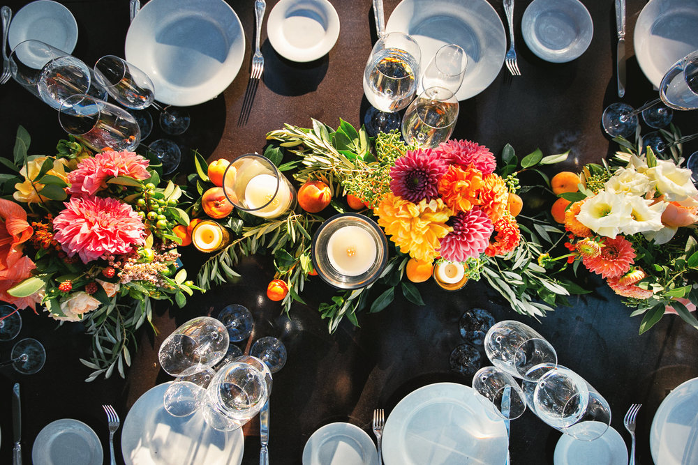 Los Olivos Rustic Outdoor Wedding Tabletop with Colorful flowers