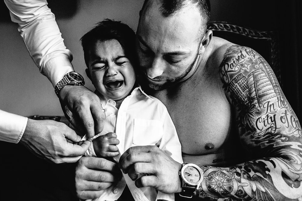Tender Moment between a son and his dad on his wedding day