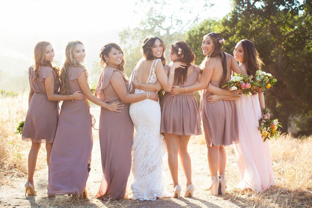 soft and pretty Los Olivos Wedding photo of Bridesmaids outdoors