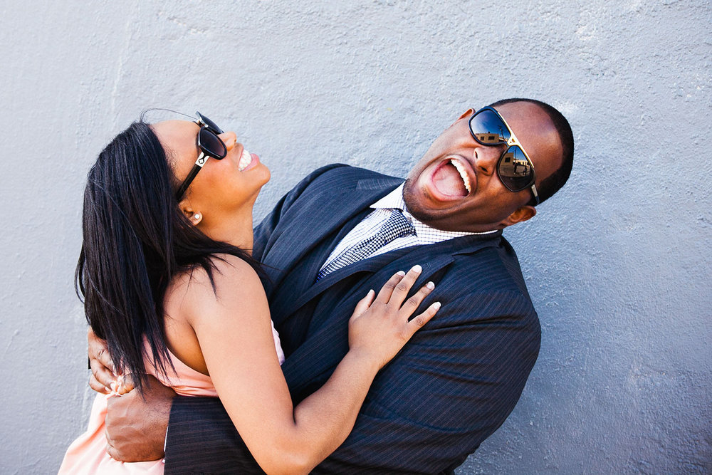 Fun moment in African-American Los Angeles engagement photo session
