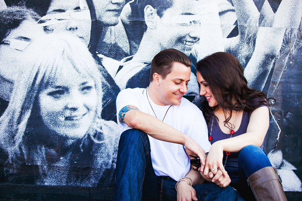 Silver Lake Los Angeles Engagement Photo with couple at a mural
