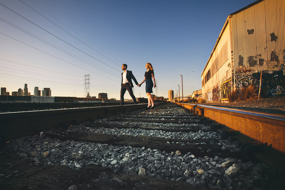 Los Angeles engagement photo of a couple on the train tracks