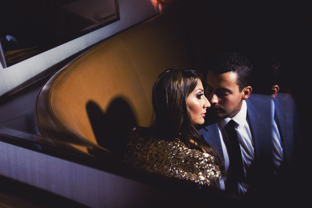 Intimate engagement photo at the SLS Hotel in Beverly Hills
