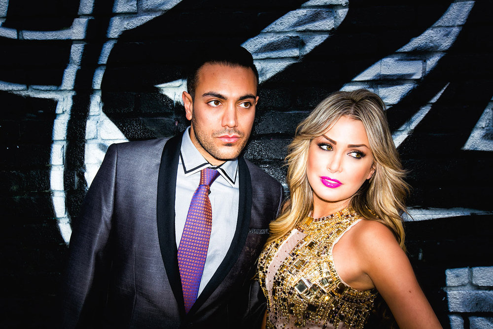 Fashion forward Persian engagement photo in Los Angeles