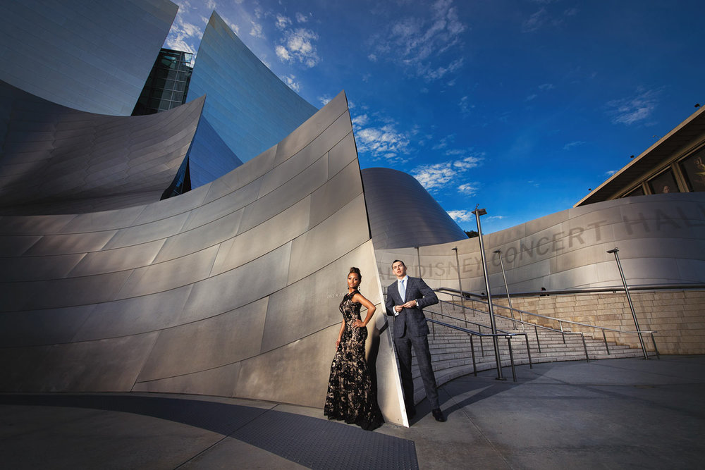 African American engagement photo at Walt Disney Concert Hall