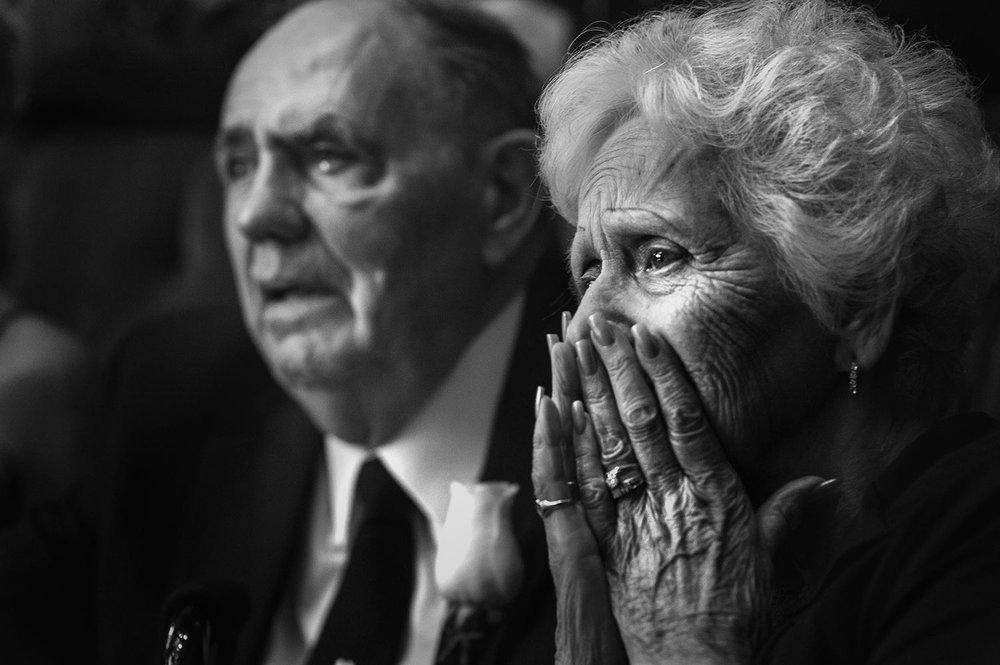 Emotional Grandparents at Los Angeles Jewish Wedding Ketubah