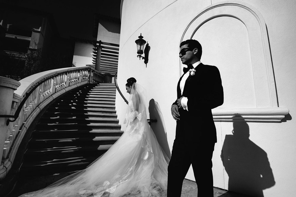 Classic and beautiful wedding photo of Persian couple at Monarch Beach Resort