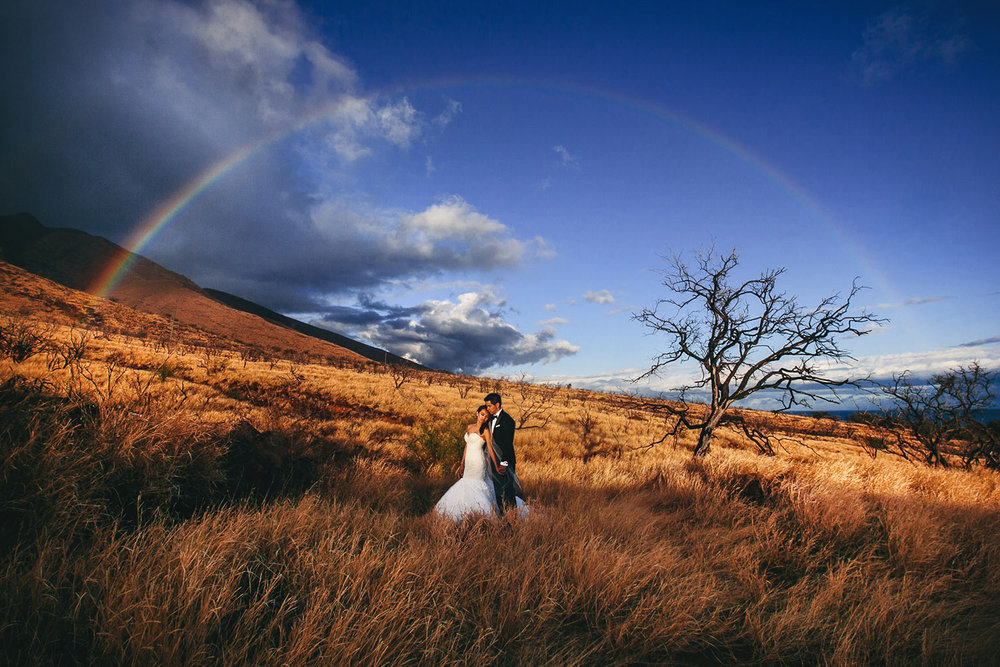 Best Hawaii Wedding Photo with Maui rainbow over couple
