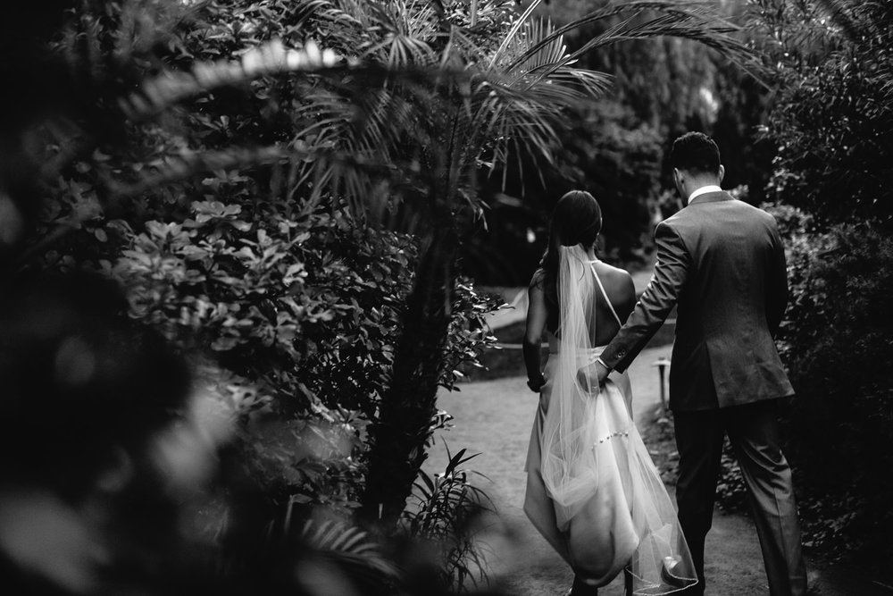 Parker wedding black & white of couple in garden