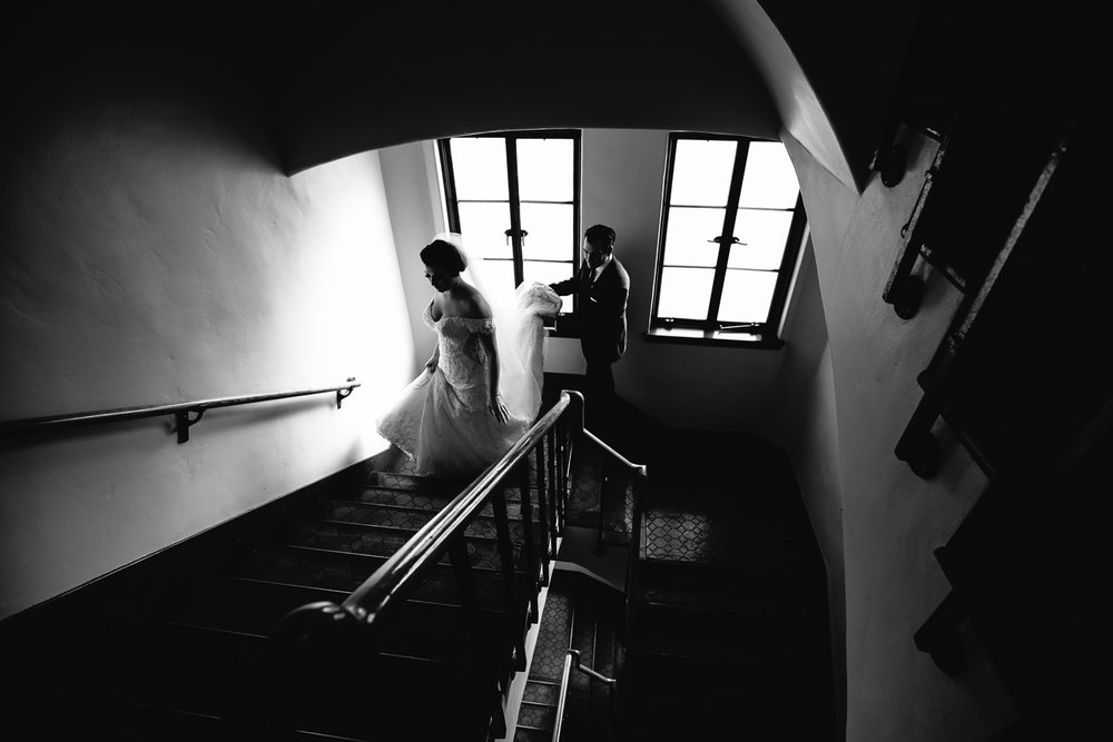 Vibiana Wedding Photographs of Bride and Groom on the staircase