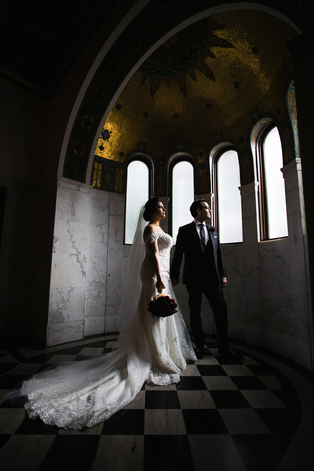 Dramatic and Beautiful Vibiana Wedding Photographs of Bride and Groom