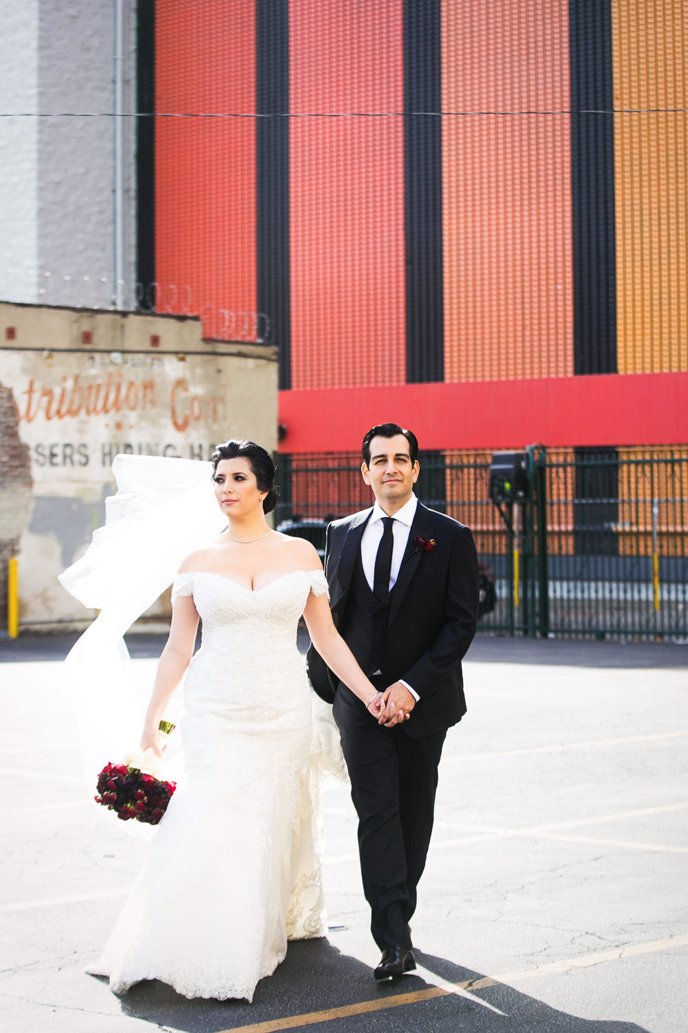 Beautiful Vibiana Wedding Photographs of Bride and Groom