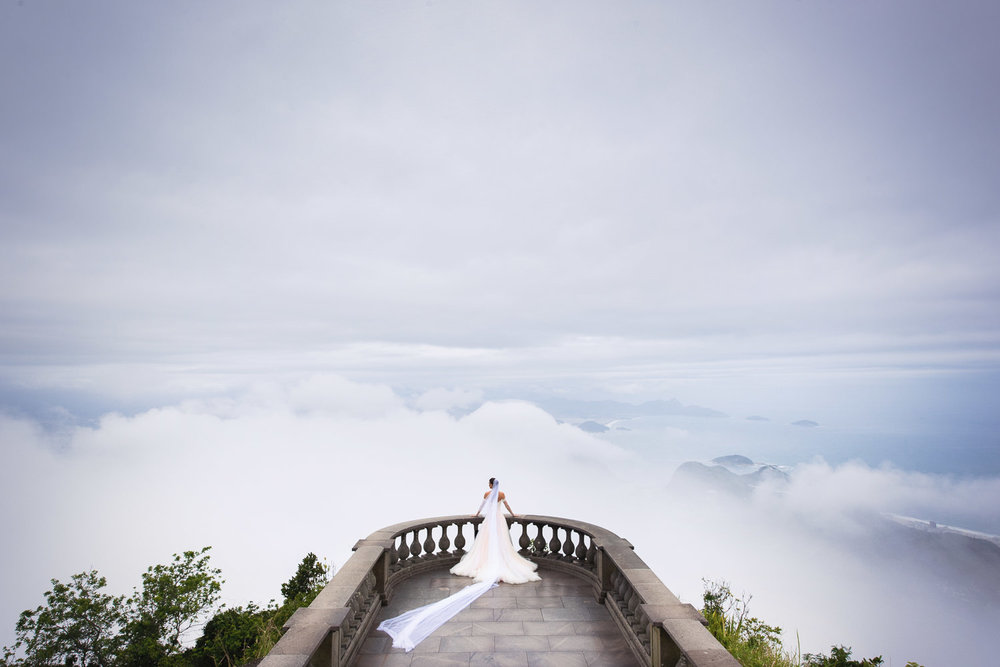 Guy O'Seary Wedding in Rio de Janerio photo of wife Michelle looking out over the clouds