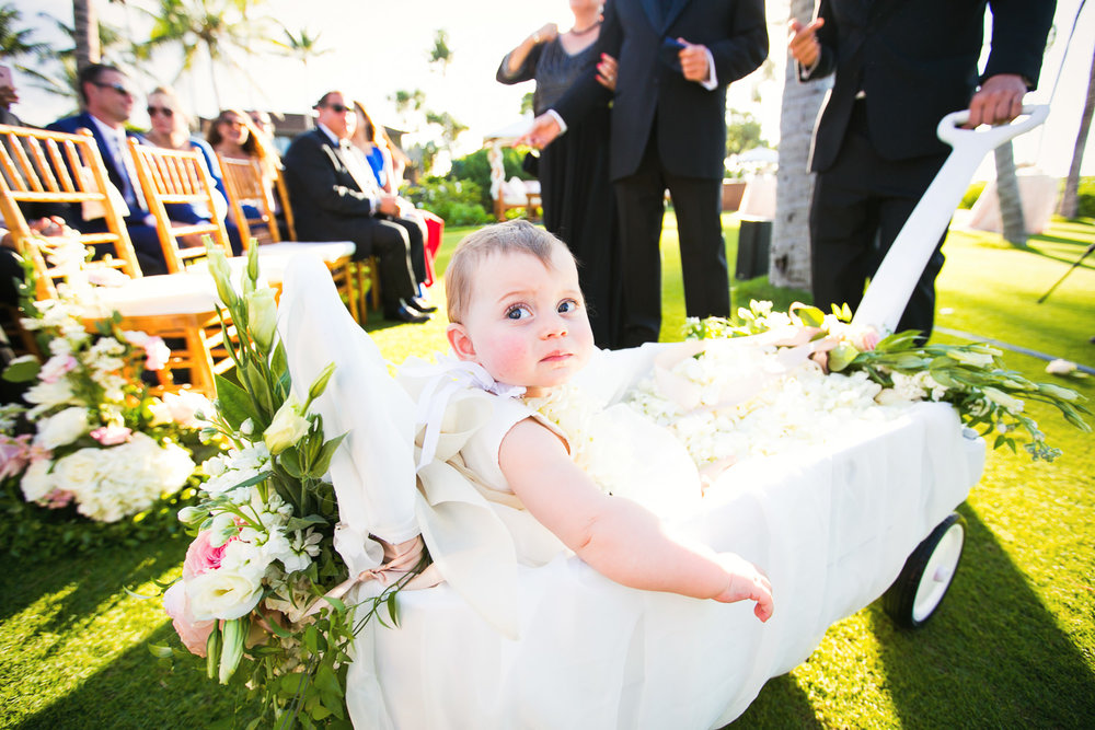 Baby at Outdoor Wedding Ceremony at the Four Seasons Hualalai