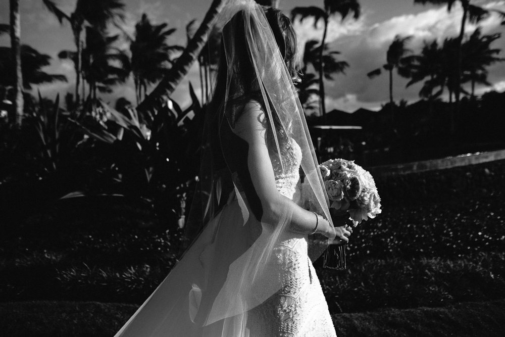 bride at Outdoor Wedding Ceremony at the Four Seasons Hualalai