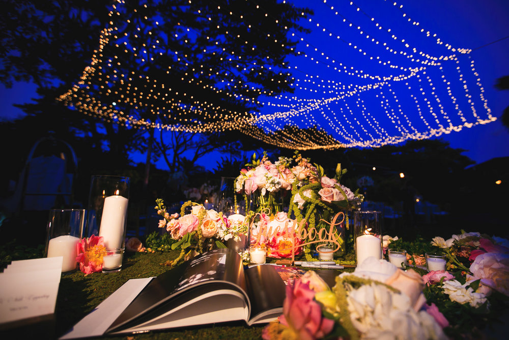 One more photo of Reception on the lawn at a Outdoor Wedding at the Four Seasons Hualalai