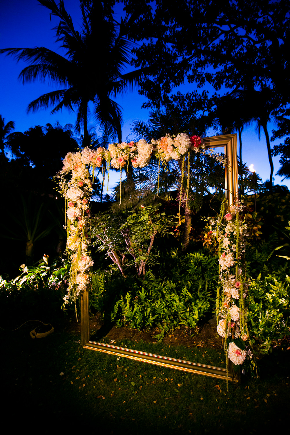 Floral picture frame at Four Seasons Hualalai wedding reception