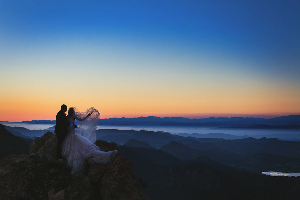 Sunset wedding photo at Malibu Rocky Oaks