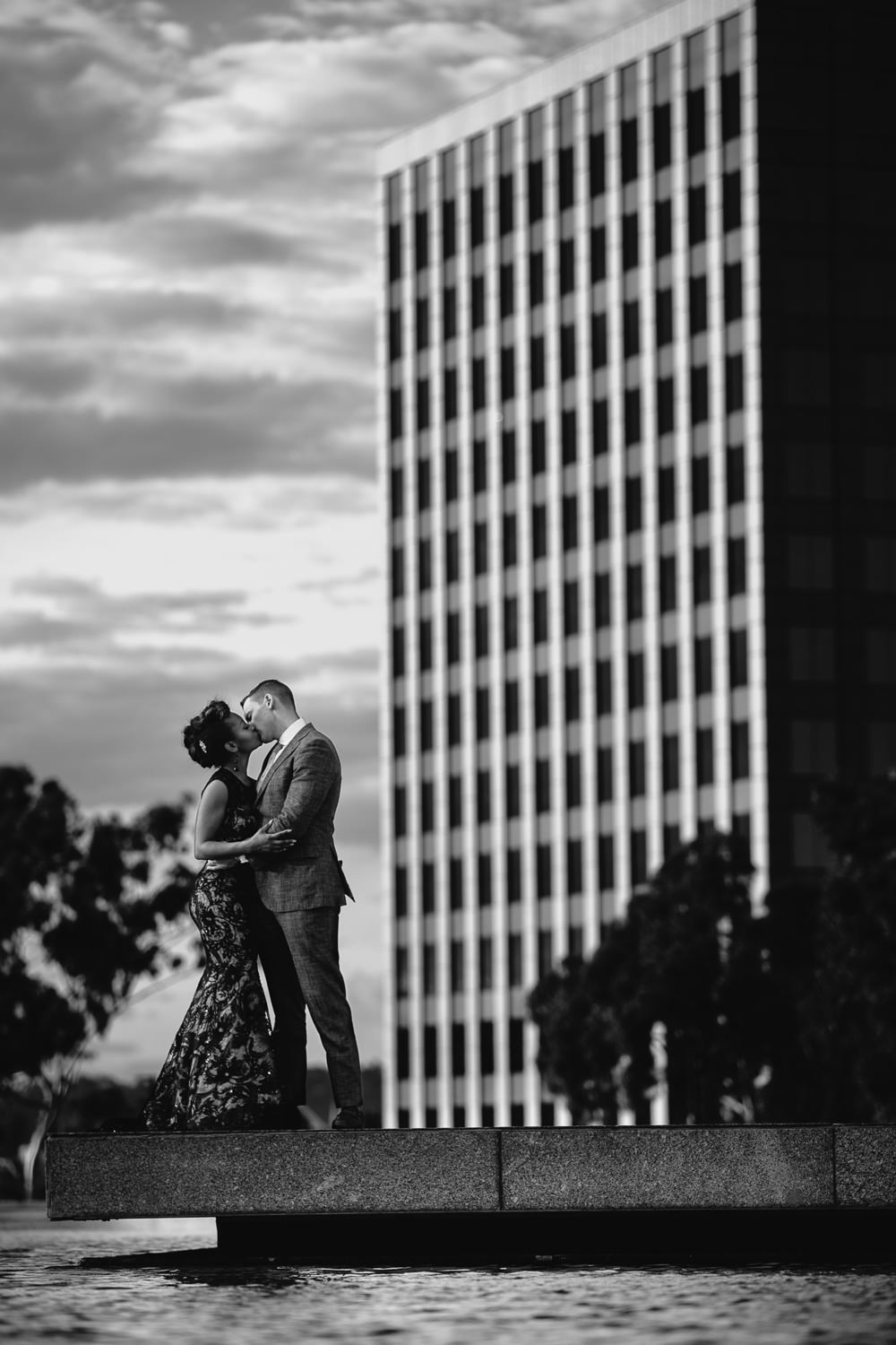 Los Angeles Engagement Photo Black and White